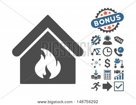 Building Fire icon with bonus elements. Glyph illustration style is flat iconic bicolor symbols, cobalt and gray colors, white background.