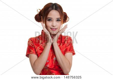 Happy Asian Girl In Chinese Cheongsam Dress.