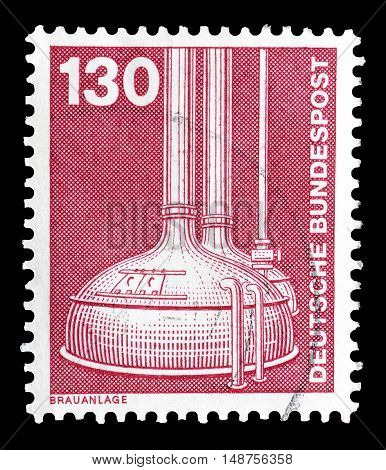 GERMANY - CIRCA 1982 : Cancelled postage stamp printed by Germany, that shows Brewery.