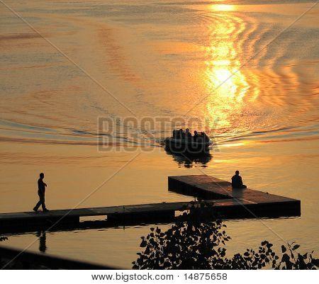 River boat dock at sunset