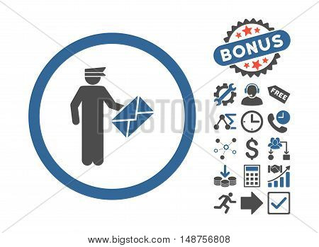 Postman pictograph with bonus pictogram. Glyph illustration style is flat iconic bicolor symbols, cobalt and gray colors, white background.
