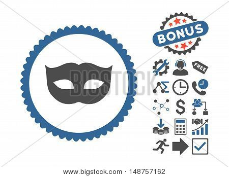 Privacy Mask icon with bonus pictures. Glyph illustration style is flat iconic bicolor symbols, cobalt and gray colors, white background.