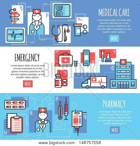 Medical horizontal banners with emergency pharmacy and medical care line icons compositions flat vector illustration