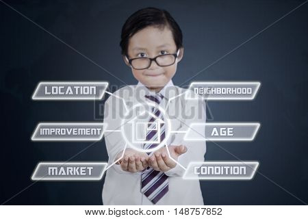 Property value concept. Little businessman showing property value icons on his hands