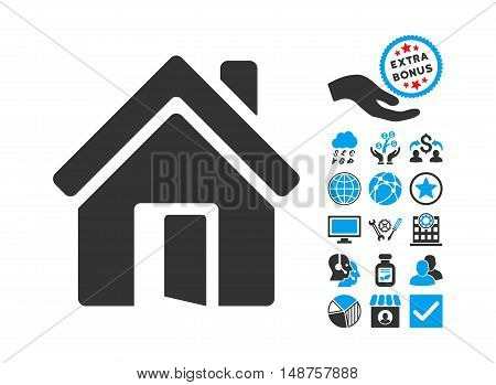 Open House Door pictograph with bonus design elements. Glyph illustration style is flat iconic bicolor symbols, blue and gray colors, white background.