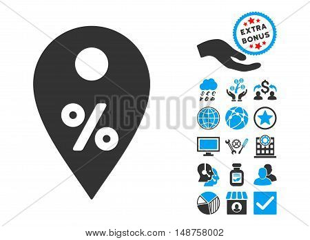 Percent Map Marker icon with bonus design elements. Glyph illustration style is flat iconic bicolor symbols, blue and gray colors, white background.