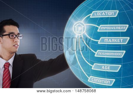 Property value concept with male real estate agent touches property value button and globe on the virtual screen