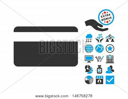 Plastic Card icon with bonus icon set. Glyph illustration style is flat iconic bicolor symbols, blue and gray colors, white background.