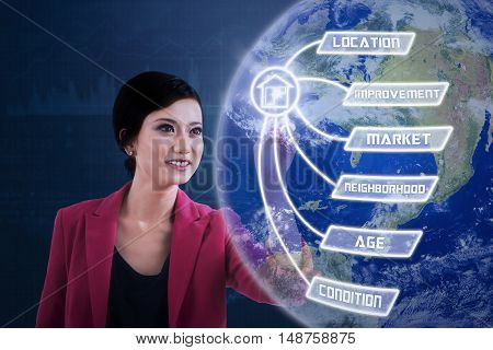 Property value concept. Female real estate agent touches property value button and globe on the virtual screen