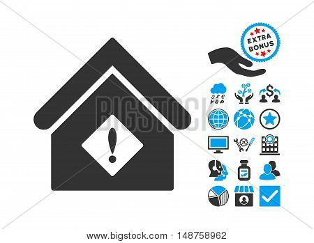 Problem Building pictograph with bonus icon set. Glyph illustration style is flat iconic bicolor symbols, blue and gray colors, white background.