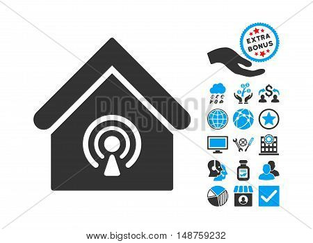 Radio Station pictograph with bonus clip art. Glyph illustration style is flat iconic bicolor symbols, blue and gray colors, white background.