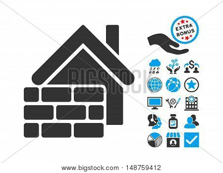 Realty Brick Wall pictograph with bonus pictures. Glyph illustration style is flat iconic bicolor symbols, blue and gray colors, white background.