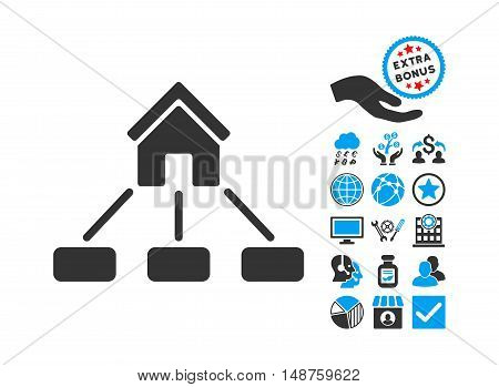 Realty Links icon with bonus symbols. Glyph illustration style is flat iconic bicolor symbols, blue and gray colors, white background.