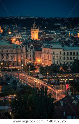 City of Prague at Night. Vertical Night Time Photo of the Prague.