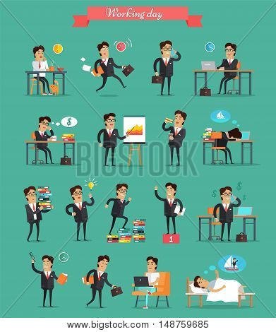Working day concept set. Vector in flat style. Businessman in office work situations. Planning, browsing, calling, dreaming, sleeping, break, victory, paper work hurry fatigue stress illustrations