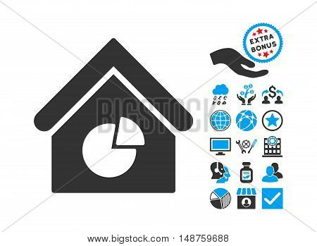 Realty Pie Chart icon with bonus symbols. Glyph illustration style is flat iconic bicolor symbols, blue and gray colors, white background.