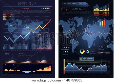 Graphic chart with map of the world on the background. Global infographics map and diagrams. Infographic elements, icons, global pie chart, world business map visualization, data. Vector illustration