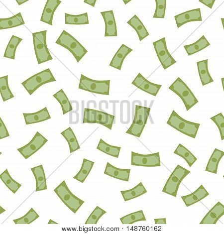 Raining money seamless background vector. Falling banknotes in flat design.