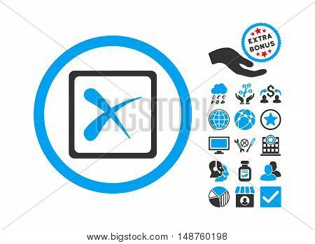 Reject icon with bonus symbols. Glyph illustration style is flat iconic bicolor symbols, blue and gray colors, white background.