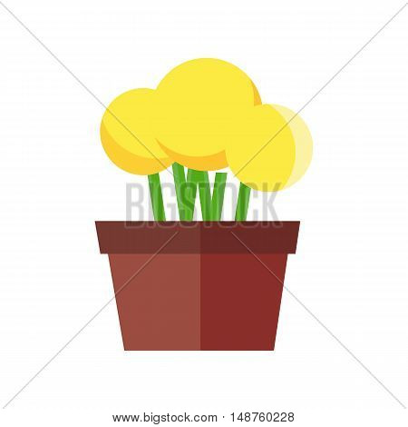 Flowerpot vector illustration in flat design. Yellow flowers in a ceramic or plastic pot. Isolated on white background.