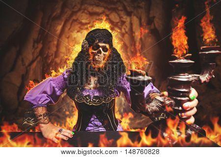 Sorceress burning away