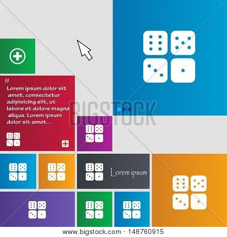 Dices Icon Sign. Buttons. Modern Interface Website Buttons With Cursor Pointer. Vector