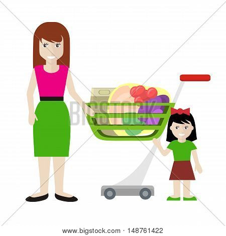 Customer female character vector illustration in flat style design. Smiling woman with girl standing near shopping cart full of products. Fast and comfortable purchases concept. Isolated on white.