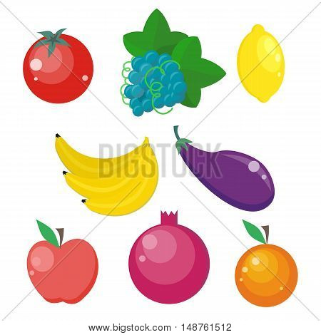 Set of fruits and vegetables vectors. Flat design. Healthy vegetarian food products. Tomatoes, grape, lemon, banana, eggplant, apple, pomegranate, orange illustrations Isolated on white background
