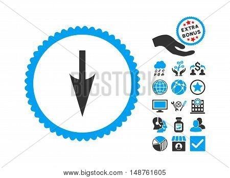 Sharp Down Arrow icon with bonus symbols. Glyph illustration style is flat iconic bicolor symbols, blue and gray colors, white background.
