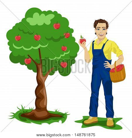 Young man picking apples in an orchard isolated over white background