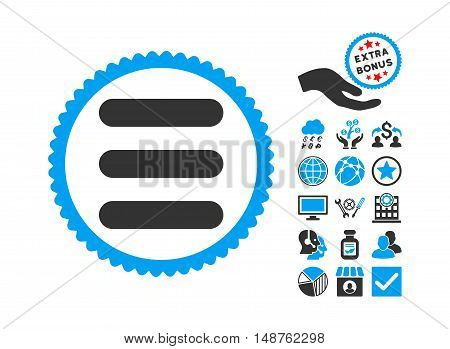 Stack icon with bonus icon set. Glyph illustration style is flat iconic bicolor symbols, blue and gray colors, white background.