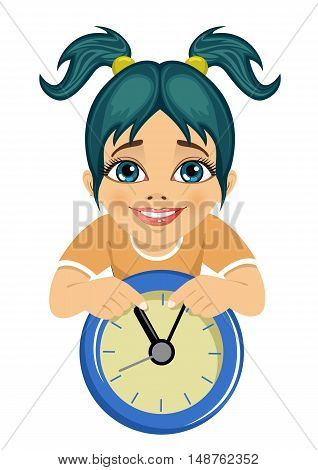 little cute girl showing arrows on the wall clock isolated over white background