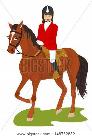 young handsome man ridding a horse isolated on white background