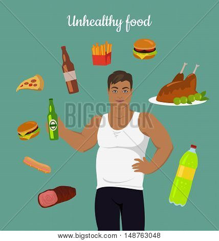 Unhealthy food consumption. Man before weight loss. Fat young man around junk food. Person with big belly prefers unhealthy food. Part of series of promotion healthy diet and good fit. Vector