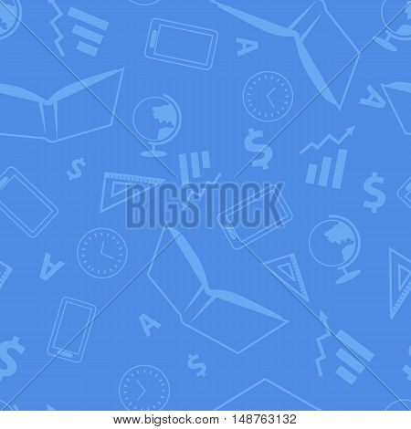Seamless pattern with school elements. Book ruler clock mobile phone globe letter. Realistic elements isolated on blue background.
