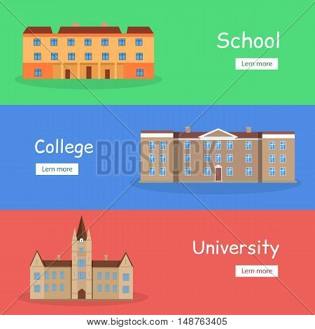 Set of school, college and university banners. Brown building with brown roof. Three-storey building. Building icon. Simple drawing. Vector illustration in flat. Education banner set