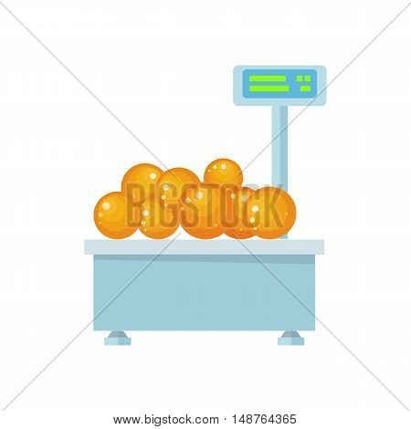Tray with oranges on store scales vector. Flat design. Vegetables in supermarket illustration