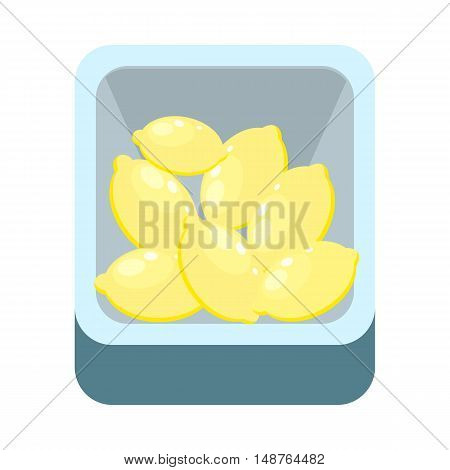 Lemons in tray isolated on white. Grocery store assortment, healthy nutrition.
