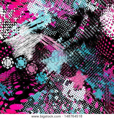Graffiti bright psychedelic seamless pattern on a black background vector illustration