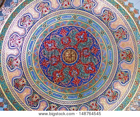 ISTANBUL, TURKEY - OCTOBER 31, 2015: Ceiling decoration of Topkapi Palace in Istanbul, Turkey.