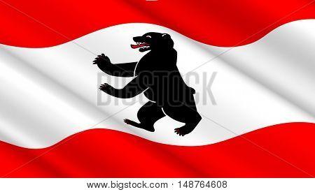 Waving flag of Berlin. 3D illustration.