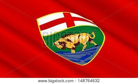 Manitoba flag background. 3D illustration.