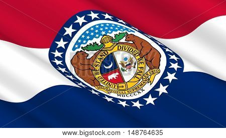 Waving flag of Missouri state. 3D illustration.