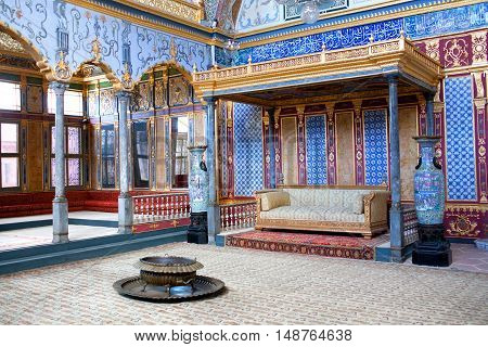 ISTANBUL,TURKEY - OCTOBER 31, 2015: Throne room inside Harem section of Topkapi Palace.