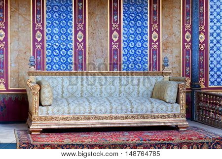 ISTANBUL, TURKEY - OCTOBER 31, 2015: Details of Throne room inside Harem section of Topkapi Palace.