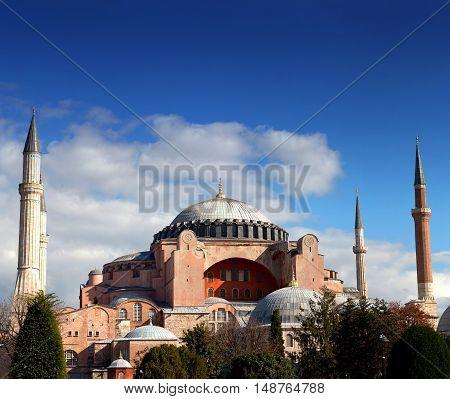 ISTANBUL, TURKEY - OCTOBER 31, 2015: Exterior of Hagia Sophia (Ayasofya) temple in Istanbul, Turkey.