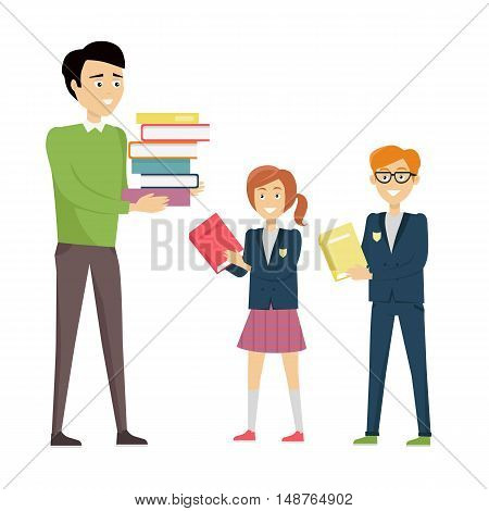 School teacher in green pullover and gray pants with stack of books. Smiling teacher with pupils in blue uniform. Learning process. Teacher isolated character. School personage. Vector illustration