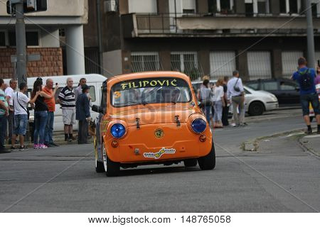 BELGRADE,SERBIA - SEPTEMBER 10, 2016:Old Zastava 750 at the commercial race of old cars in memory of formula 1 race held on the same place in 1939 two days after the beginning of Second World War when the famous Italian driver Tazio Nuvolari won