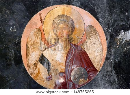 ISTANBUL TURKEY - OCTOBER 31, 2015: Ancient painted fresco in the Church of the Holy Saviour in Chora (Kariye Camii).
