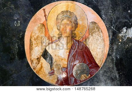 ISTANBUL, TURKEY - OCTOBER 31, 2015: Ancient painted fresco with Archangel of the Church of the Holy Saviour in Chora (Kariye Camii).